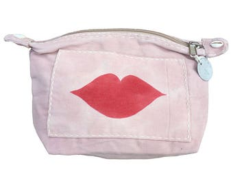 Ali Lamu Large Clutch Bag Pink Lips Red