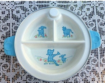 17% OFF SALE 3 Section Baby Dish/Excello Warming Dish/Little Boy Blue/Vintage Baby Gift/Child's Warming Dish/Excello Baby Dish/3 Section Dis