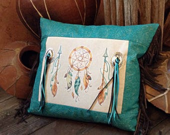 New western dreamcatcher finge throw pillow