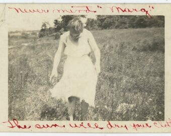 """Vintage Photo Snapshot: """"Never mind 'Marg' The sun will dry your clothes"""" (76586)"""