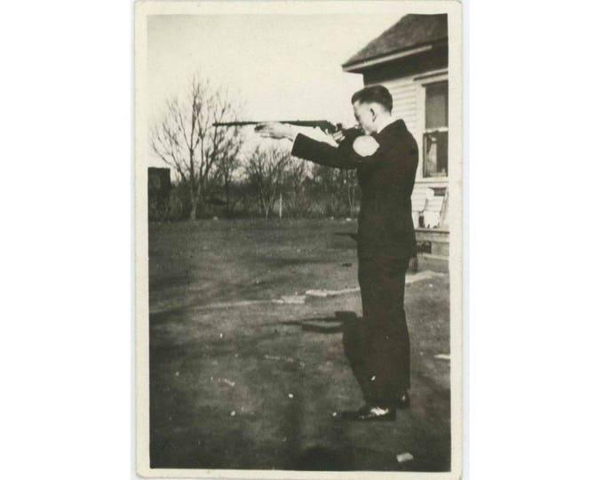 The Rifleman, c1930s Vintage Snapshot Photo (61450)