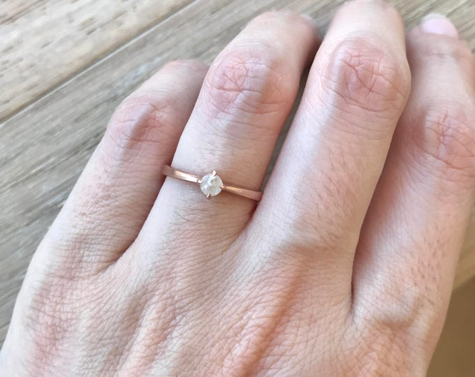 Rose Gold Engagement Ring- Rose Cut Gray Diamond Ring- Raw Diamond Promise Ring- Stackable Diamond Ring- Simple Unique Engagement Ring
