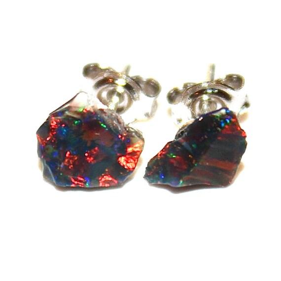 Raw Welo Opal Stud Earrings