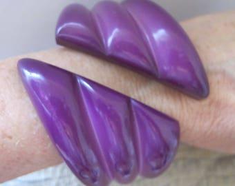 JO Signed Big Bold Resin Cuff Bracelet. Made in W. Germany. Large Size Bracelets. Purple Rain so Purple. Circa 1980 Costume Fashion Jewelry