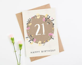 21st Birthday Card Floral