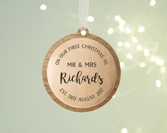 First Married Christmas Personalised Wooden Bauble