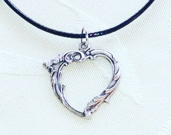 Ornate Silver Heart Necklace Handmade by NorthCoastCottage Jewelry Black Vegan Leather Cord