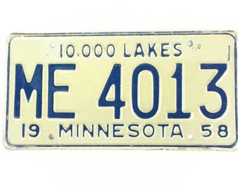 Vintage License Plate,Distressed Minnesota Plate,Blue and White,Minnesota Decor,ManCave Decor,Rustic Home Decor,Car Lover Gift,1950s Style