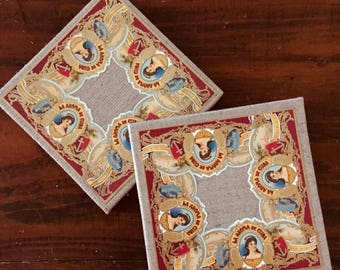 2017 Cigar Band Collage Coaster: Red La Aroma (set of 2)