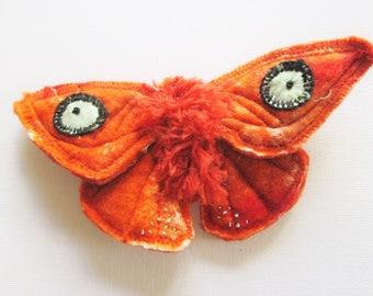 wet felted brooch, butterfly brooch orange brooch