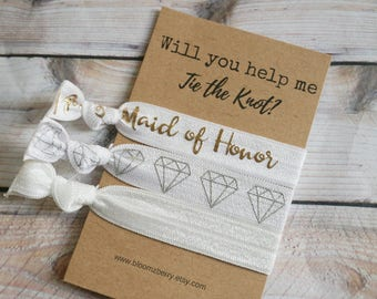 White/Gold/  Maid of Hornor Gift 3 pcs set - Will you help me tie the knot- Bridesmaid Proposal Gift- Wedding/Bridesmaid/Gift/Wedding Party