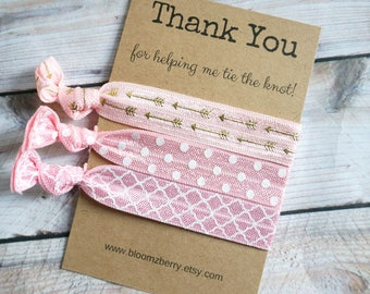 Pink/White/Gold Hair Tie Bridemaid Gift -  Thank you for helping me tie the knot - Wedding/Bridesmaid/Gift/Wedding Party/Bridesmaid Gift