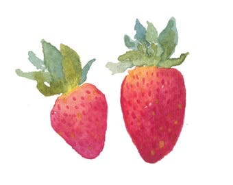 Strawberries Watercolor Print