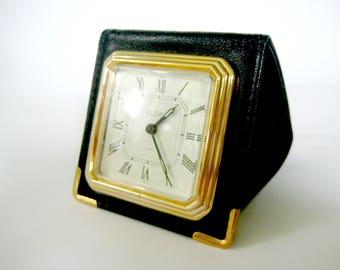 Vintage Elgin Travel Alarm Clock, Black Travel Alarm Clock, Elgin Travel Alarm Clock, Wallet Style Travel Alarm Clock, Travel Alarm Clock