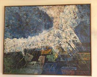 Alexander Lemmergas  STORMY SEA Vintage Abstract Expressionist Estonian American 1974