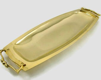"Gold Kromex Serving Tray, 17.5"" Gold Metal 2 Handle Server"