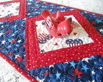 Patriotic Quilted Table Runner, 4th of July Topper,  Americana Quilt, Red White Blue Decor, Stars and Hearts, Handmade in the USA, OOAK