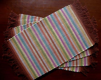 Nicaraguan Handwoven Placemats in Soft Blues, Green, Pink, Yellow, Cream, and Terracotta, Set of 4