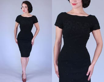 1950s Whistle Bait dress | vintage 50s black wool wiggle dress with floral embroidery | s/m