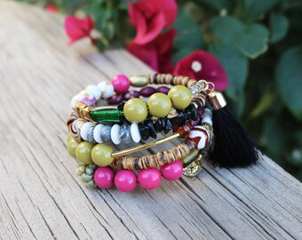 Boho Stacked Bracelet--Cuff Bracelet--Hippie--Gypsy Style--Repurposed--Fuschia Green--Vintage--Eco Friendly--Upcycled--Trending--Bohemian