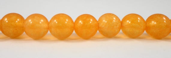 "Light Orange Jade Beads 8mm Round Dyed Orange Stone Beads, Candy Jade Beads, Mountain Jade Gemstone Beads on a 7"" Strand with 23 Beads"