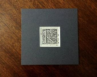 Vintage Xylograph, Letter K - gift idea