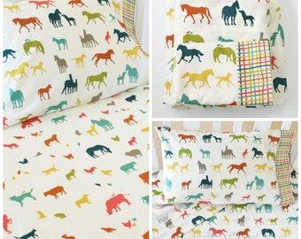 Organic Crib Sheet Set, Organic Toddler Sheet Set, Farm Fresh, Organic Baby Bedding, Organic Toddler Bedding, Farm Animals, Horses, Sheep