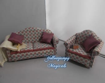 1/12th dollhouse miniature Sofa and Armchair