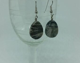 Dark Dessert Marble Tear Shaped Stone Earrings