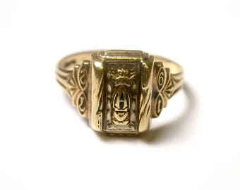 Vintage Class Ring - 14k Yellow Gold - 1972 High School Class Ring - Size 7 - Weight 3.7 Grams # 52