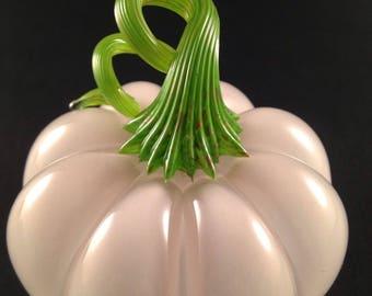 Ghost Pumpkin Translucent White Blown Glass