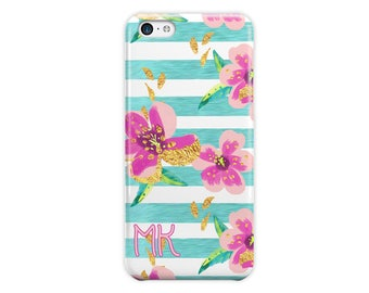 Monogrammed iPhone case,  Floral and stripes Pink and blue, Personalized gifts, For 4/4s 5/5s 6/6s 7 8 5c SE and Plus (1787)