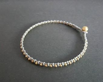 Single  Knot Gray Brass Beads  Anklet