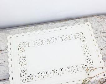 SUMMER SALE Eight Vintage Paper Lace Rectangular Doilies
