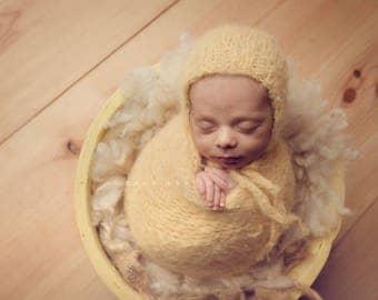 Newborn classic knit bonnet and matching wrap Baby boy/girl photo prop super soft and fuzzy yarn yellow beige cream denim  soft baby wrap