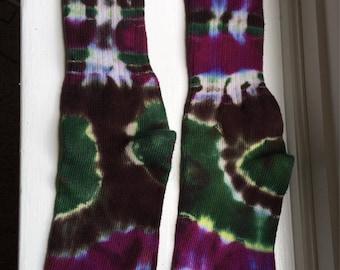 Men's Green, Brown, Purple and White Cotton Tie Dye Socks, Colorful Cotton Tie Dye Socks, Unisex Tie Die Socks Size 9-11, Unique Boho Sox