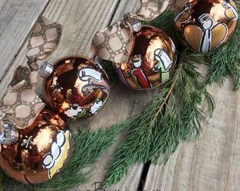 Nativity ornament set glass handpainted copper glass