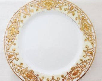 ON SALE Noritake, 175, Christmas Ball, Plate, Gold, Scroll, Japan, Salad and Dessert, Plates, c. 1950, Hand Painted, Cream, Antique, Vintage