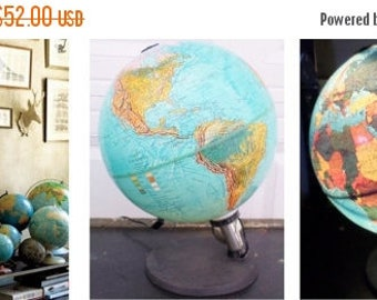 """ON SALE Vintage, Scan Globe A/S. Edition 1985 Gb. Made in Denmark, 12"""", Illuminated, World, Globe,  World Globe, Blue, Collectibles, Lighted"""
