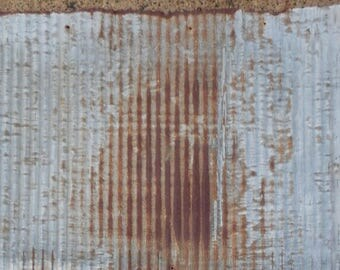 Salvaged, Rusty Barn Tin, Roofing, Micro Corrugated Tin, Galvanized, 26 inches wide X 16 inches, Weathered, Vintage, Wainscoting, Backsplash