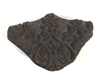 Antique carved wood textile printing block