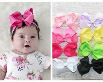 Baby Headband Bow, Large Bow Headband, Infant Headband, Newborn Headband - White Bow Headband, Headband, Boutique Bow on Fold over elastic
