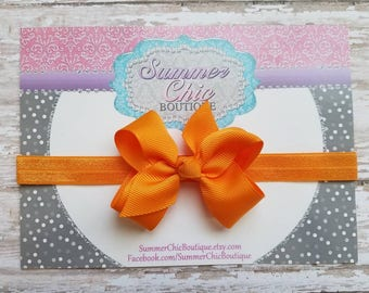 Orange Headband, Baby Headband, Bow Headband, Baby Headbands, Infant Headband, Newborn Headbands, Orange Bow, Orange Baby Headband