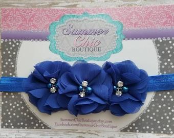 Royal Blue Baby Headband, Infant Headband, Newborn Headband -Royal Blue Headband, Royal Headband,Chiffon and Pearls Flower Headband