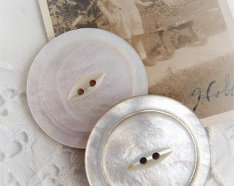 "2 Large Vintage Mother of Pearl Buttons 1 1/2"" Wide Repurpose Upcycle Crafts Jewelry Altered Art MOP Shell"