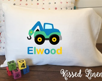 Personalized Construction Truck on White Toddler Travel Pillowcase Soft 100% Cotton Flour Sack Fabric Backhoe Concrete Dump Tow Truck Pillow