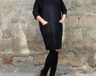 SALE ON 20 % OFF Black dress/ Black Midi dress/ Oversized dress/ Mid lenght dress/ Long sleeve dress/ Plus size dress/ Spring dress/ Casual