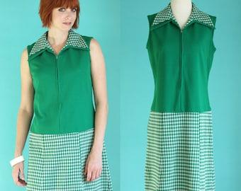 Vintage 60s Mod Dress - Green Plaid Dress - Mini Dress - Short Dress - Drop Waist Dress - Sleeveless Dress - Zip Front Dress - Size Medium