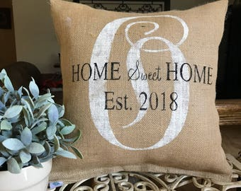 monogram pillow, home sweet home pillow, personslized gift