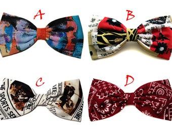 Abstract Hair Bows- Geisha Hair Bow- News Paper- Bandanna- Barrette, Alligator Clip, or Headband